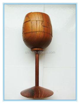 Red Wine Goblet Cup Wine Glass Wooden Brain Teaser