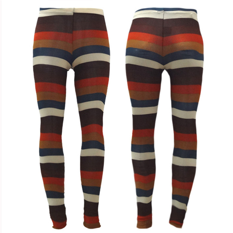 Print Fashion Good Quality Women Mid Waist Sexy Colored Striped Leggings