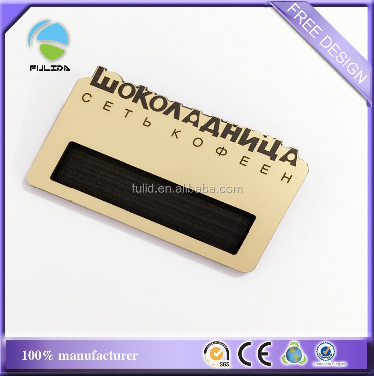 reusable hard abs name badge with window, magnet hard plastic gold name badge