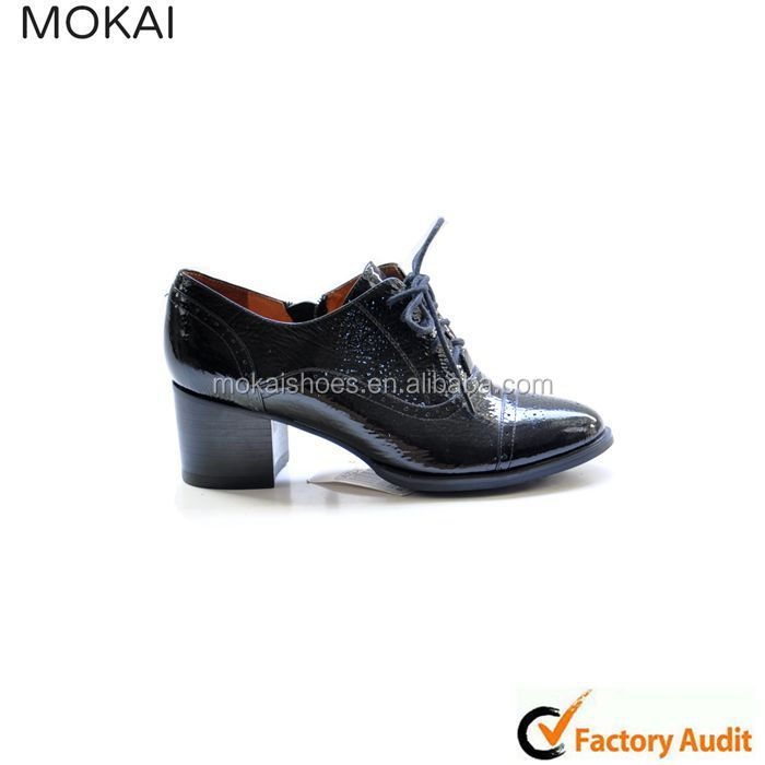 MK014P-A1 black leather lady dress shoe rough heel with lace 2015