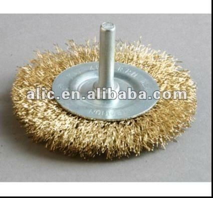 85mm brass wire wheel brush with shaft