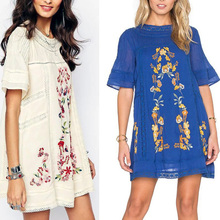 Vintage Ethnic Flower Boho Embroidered Casual Dress Boho Dress 2017