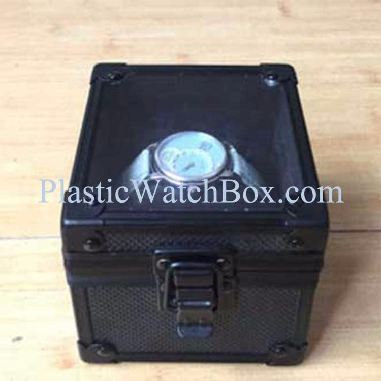 Black Aluminum Watch Case With Pillow Inside and Clear Acrylic Box Window Hot Sale