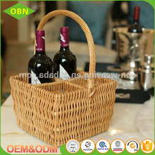 High quality wholesale hand woven wicker willow wine basket for 4 wine bottles