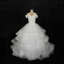 Fluffy Off Shoulder Cap Sleeves Princess Style Ball Gown Wedding Dress
