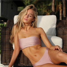Wholesale 2018 new design High waist thong bikini Swimsuit Off shoulder Solid color Tie back High cut Sexy mature women bikini