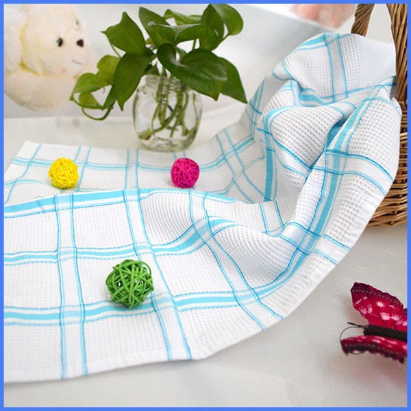 gift use colorful check plain white cotton tea towel