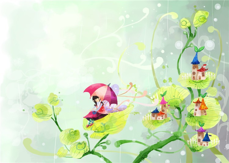 fairy story peas girl with small house wallpaper for children room/for school