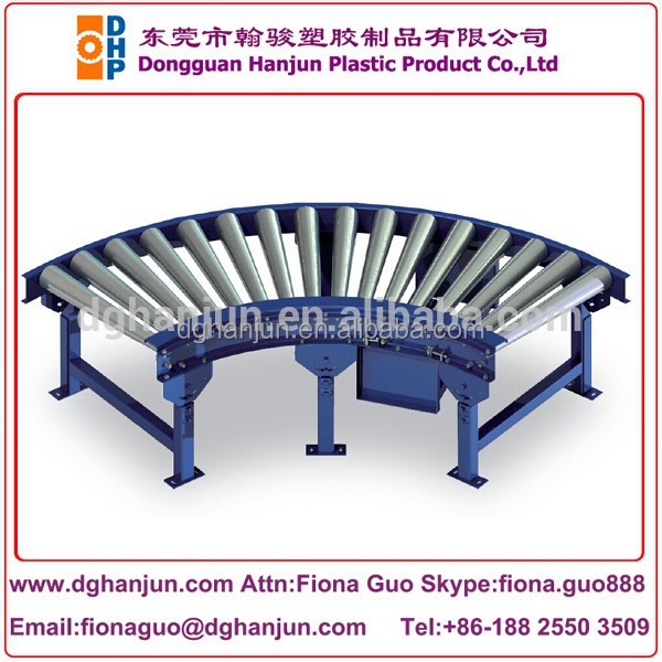 Single chain drive roller curved conveyor/90 degree turning roller conveyor
