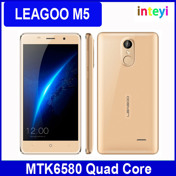 Original Leagoo M5 3G Smartphone 5'' Gorilla Glass Android 6.0 MTK6580 Quad Core 2GB 16GB Dual SIM GPS Fingerprint Mobile Phone