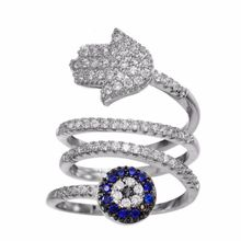 2017 Fashion OEM Hamsa Hand Blue eye Cubic Zircon Stainless Steel christmas day ring for Women Gifts