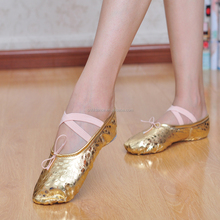 High quality gold PU dance shoes soft ballet shoes