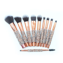 Best Selling Tool 10pcs Luxury Glitter Handle Rose Gold Makeup <strong>Brushes</strong> Professional With PU Bag