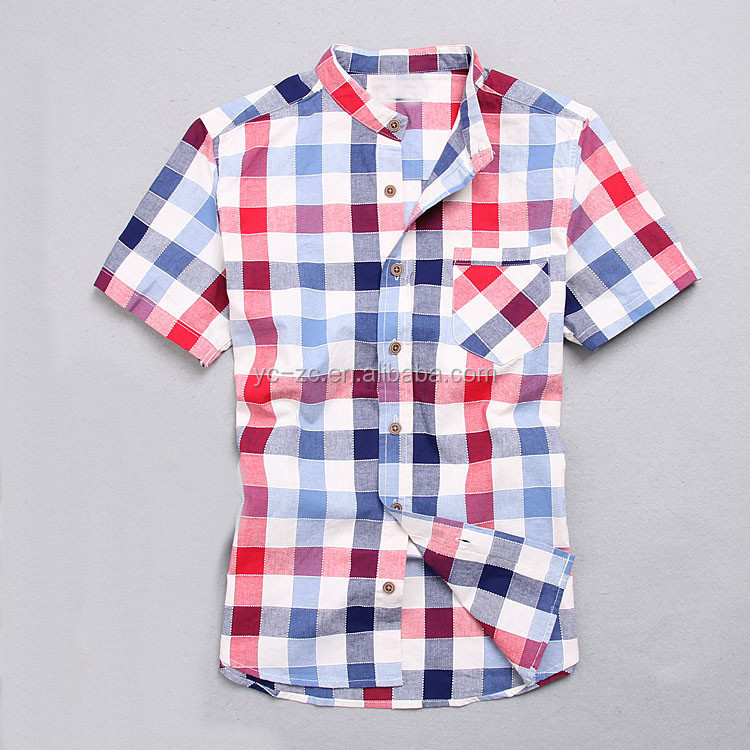 2016 new men's short sleeve fitness shirt men plaid custom shirts