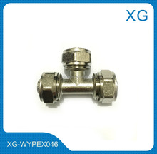 Brass tee nickel plated/NPT threaded female tee for pex/al/pex pipes connection/gas hose brass compression fittings