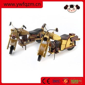 wooden mini model motorbike figurines