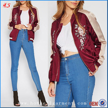 Custom Made Satin Varsity Embroidered Fashion Bomber Jacket Wholesale Jacket Women