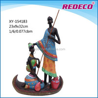 Polyresin african couple figurine table decoration