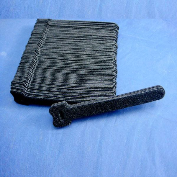 "1/2""x6"" 12x150mm Black Nylon Self gripping Hook and loop cable tie"