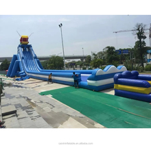 Popular in summer blue inflatable wave water slide,inflatable pools with slide