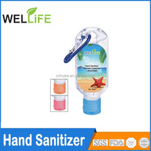 Ningbo factory wholesale promotional non alcohol hand sanitizer with carabiner