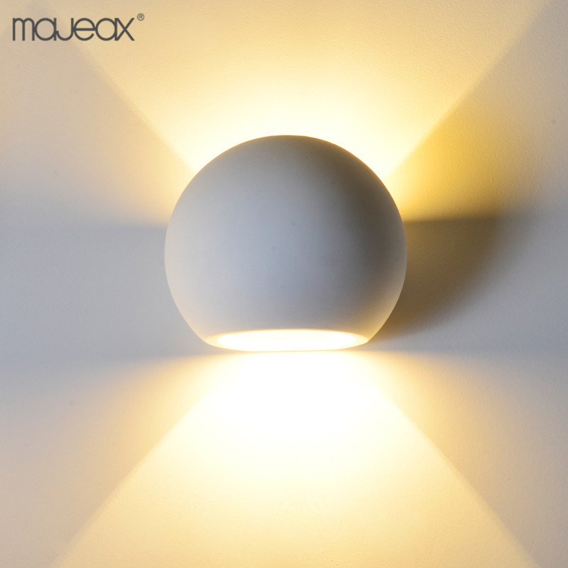 indoor ball shape white gypsum plaster unique wall mounted decorative led light for room