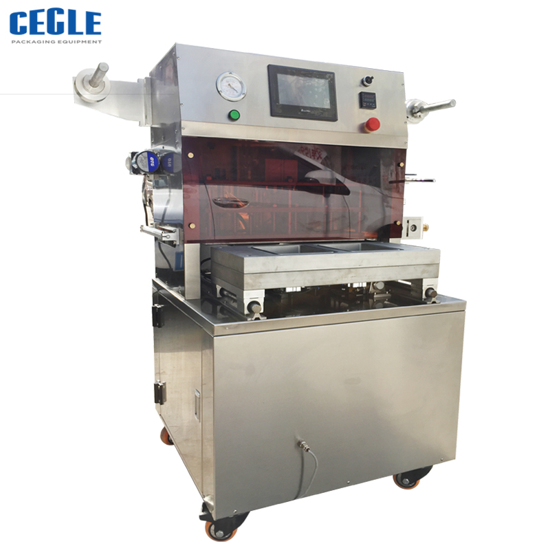Famous brand lettuce vacuum map tray sealing machine , map machine