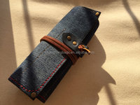 Vintage Jean Roll Watch Pouch ,Leather And Denim Watch Case,Watch Pocket Supplier