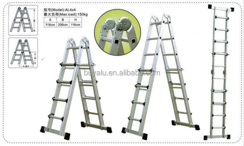 Unique Designed Aluminum Multi-functional Extension Ladder in Silver Anodized