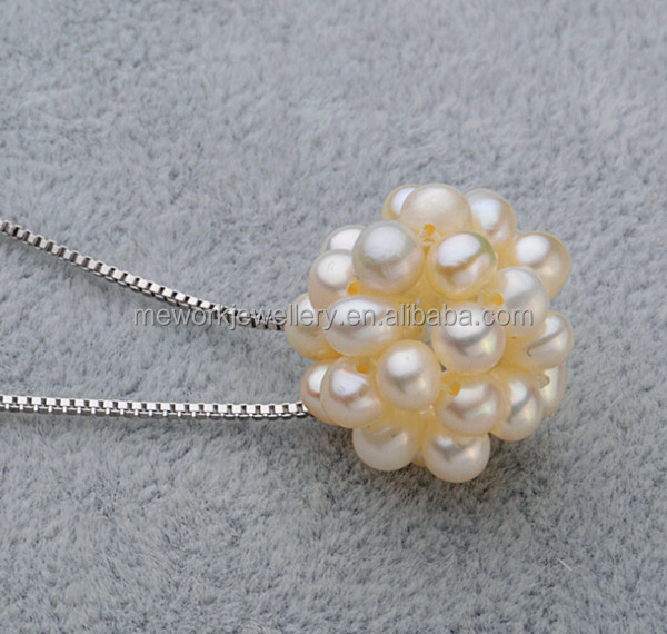 Pearl Pendant Slider Necklace 8 Mm Size Perfectly Rounded Flower Pearl Pendant Necklace