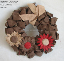 new Xmas artificial burlap sunflowers wreath for christmas home wall decoration