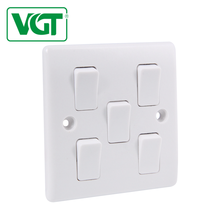 White 5 gang 1 way wall switch 10a