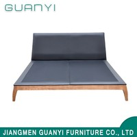 The latest model leather grow teak wood double bed frame designs