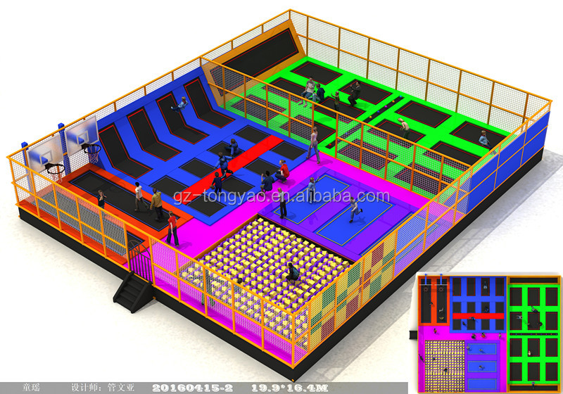 Professional commercial indoor trampoline park for sale with foam pit and basket area