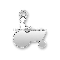 Unique Zinc Alloy Rhodium Plated Metal Farmer And Tractor Shaped Silhouette Charms