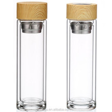 High borosilicate glass ,double wall glass water bottle with bamboo lid with fruit and tea infuser