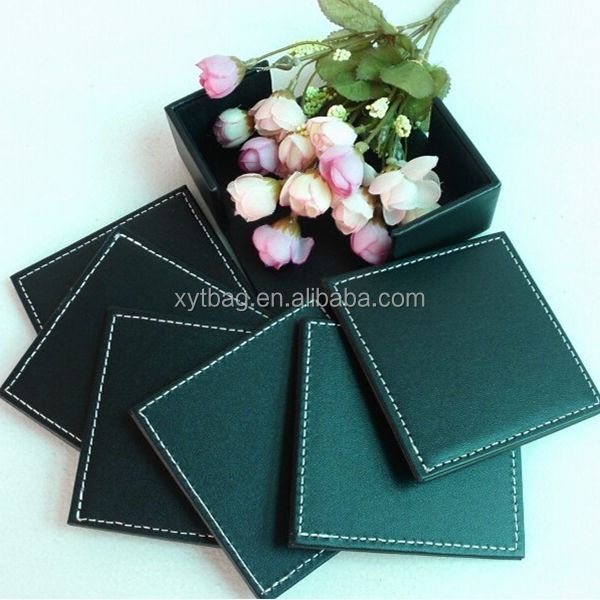 Customized Logo Printed Leather Promotional Coaster