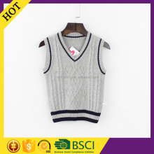 Fashion 2015 round collar lovely knit sleeveless pattern child sweater