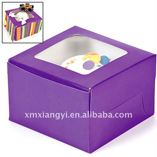 Purple fancy cardboard cupcake box