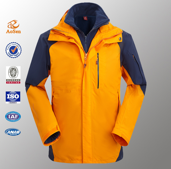 Waterproof windproof men 3 in 1 jacket with polar fleece inner jacket