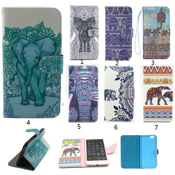 Stand Flip Leather Wallet Case Cover Card Slot elephant printed Pattern flip case For iphone 6s Samsung S7 iPhone 4 5 5C 6 6Plus