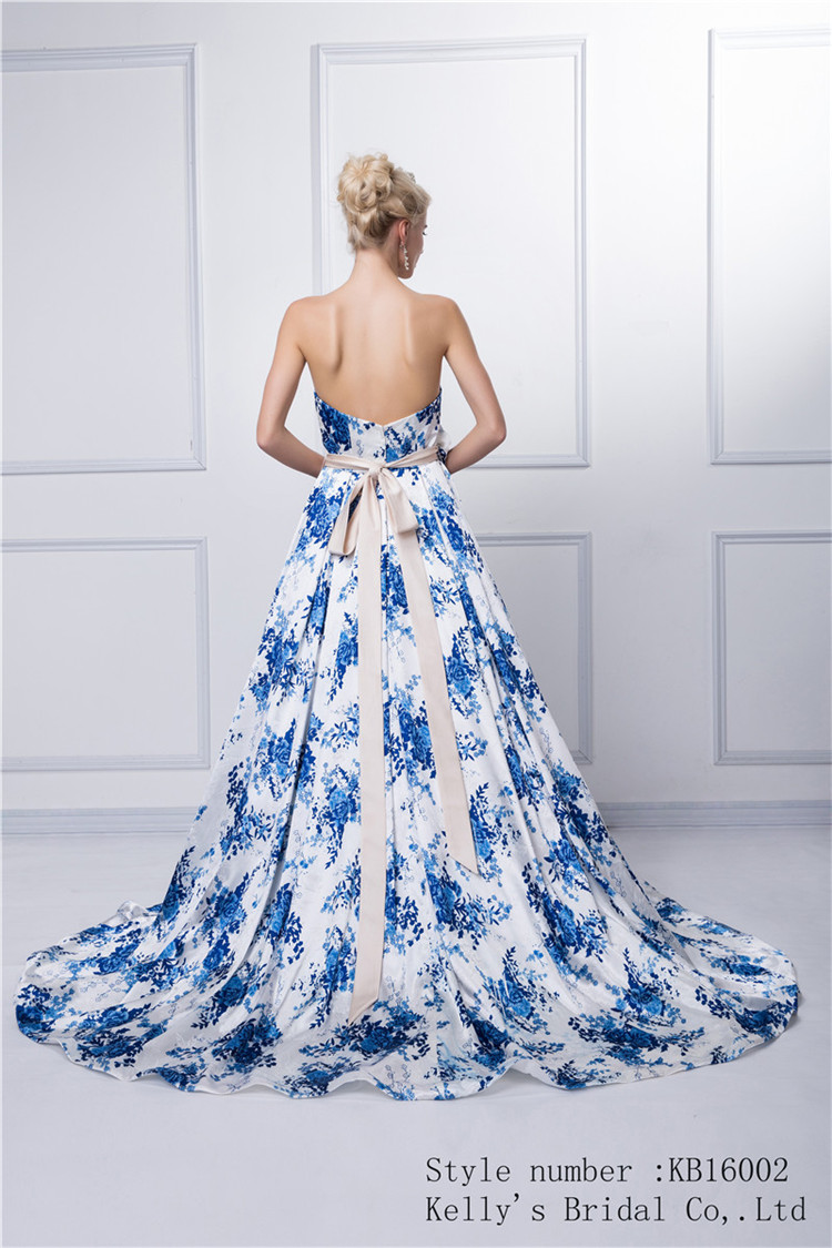 Factory supply custom made new long party colorful white and blue A-line backless off-shoulder top quality evening dress china