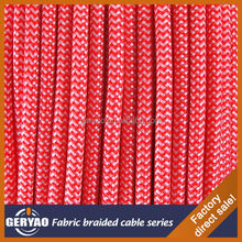 Colourful Red black round 3 core textile fabric cable cloth covered wire for pendant lights