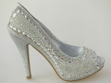 Fashion pump rhinestone pearls high heel shoes for ladies with good quality