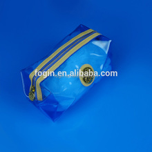 custom blue pvc makeup plastic cosmetic pouch with ziplock