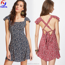 New fashion summer women clothing lace up back floral print mini dress