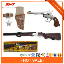Hot sale kids cowboy toy gun set with light and sound