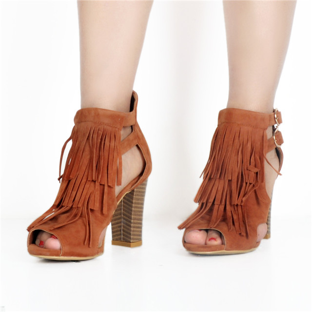 Fashion Big Size Sandal Ladies High Heel Fancy Sandals Chunky Heel Roman Sandals with Tassel