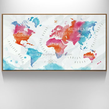 Floater Frame 80x150cm Large Map Canvas Wall Art Decor World Map Wall Decal Watercolor Map Poster for Living Room Ready to Hang