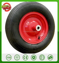 "16'' 4.80/4.00-8"" Pneumatic Air Filled Tire Replacement Wheel for Wheelbarrow Pneumatic Wheelbarrow wheel Ribbed Tread"
